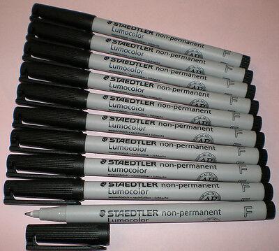 10x STAEDTLER Folienstift Lumocolor F non-permanent 316-9 schwarz OHP Pen Marker