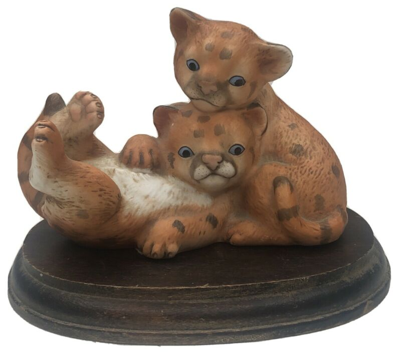 Curious Cougars Masterpiece Porcelain Figurine With Original Base by Homco 1993