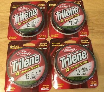 LOT OF 4 - Berkley Trilene XL Low Vis Green Fishing Line, 12 lb Test, 300 Yds