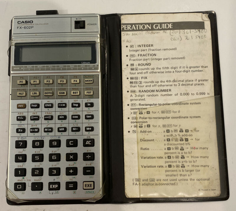 Casio fx-602p Programmable Scientific Calculator w/ Case and Reference EUC