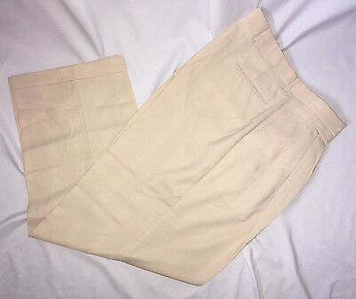 Mens pants Ivory Dress Cuffed  pleated  32 34 36  X 32  NEW