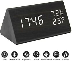 Digital Alarm Clock Wooden Electronic LED Time Humidity Temperature Display