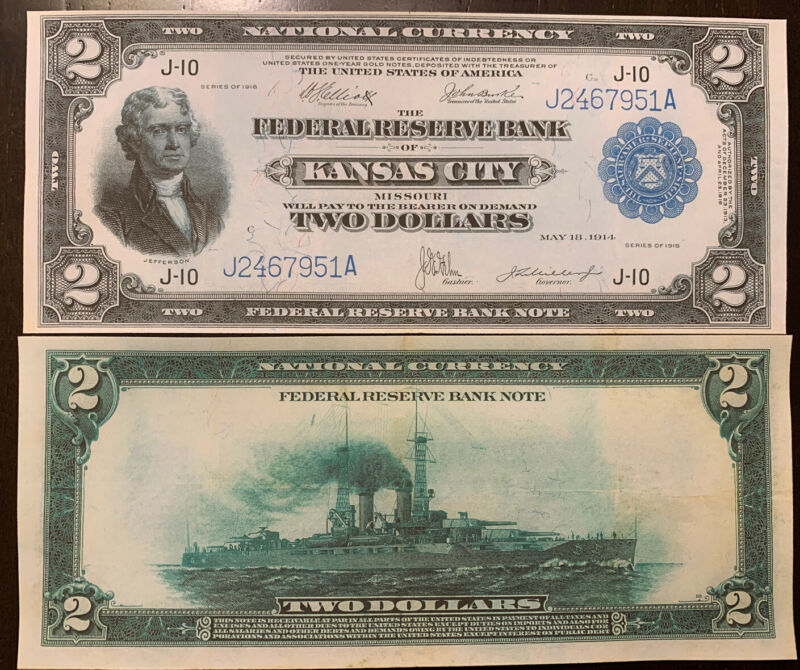 Reproduction $2 Federal Reserve Bank Note 1918 Kansas City Jefferson Battleship