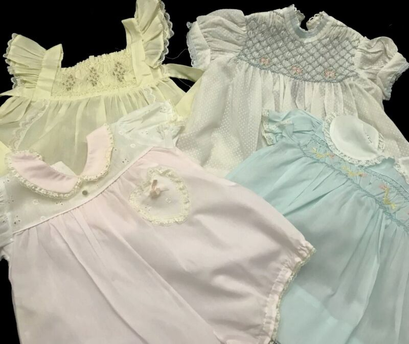 Vintage Baby Girls Dresses Lace Smocked  Polly Flinders  Alexis  Lot of 4Pcs
