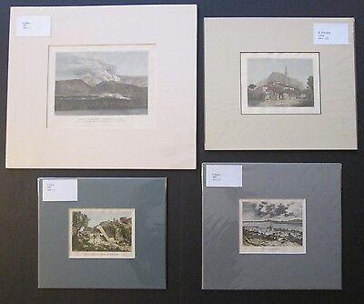4 ANTIQUE EUROPEAN ETCHINGS William Finden c1835 and Victor Duruy 1887 ~ Matted