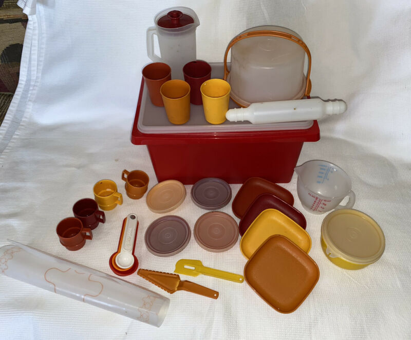 Vintage Tupperware Toys Set Kids Play Dishes Mini 36 Pieces  Total