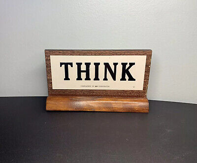 """Vintage IBM """"THINK"""" Plaque On Stand Desk Top Sign Wood Two Sided Flaws"""