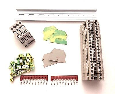 DIN Rail Terminal Block Kit Dinkle 20 DK4N 10 AWG Gauge 30A 600V Ground Jumper Din Rail Bracket Kit