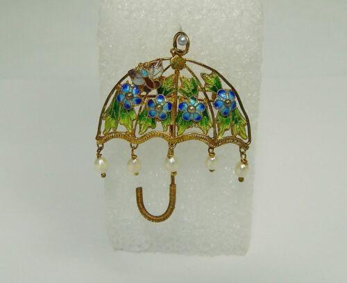 Sterling Filigree Enamel Umbrella w/ Pearls Pin Brooch Pendant Chinese Export