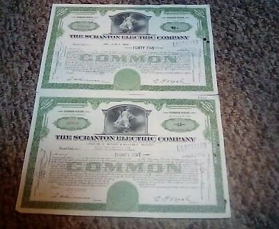 Lot of 2  Scranton Pennsylvania Electric Company Stock Certificates From 1947-49