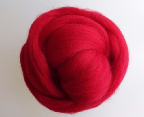 Scarlet Red* 100% Merino Wool Roving Tops for Felting, 50 g
