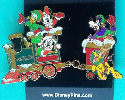 Disney HKDL Christmas 2005 Mickey Minnie Goofy Pluto Donald Fab 5 Train 2 Pins