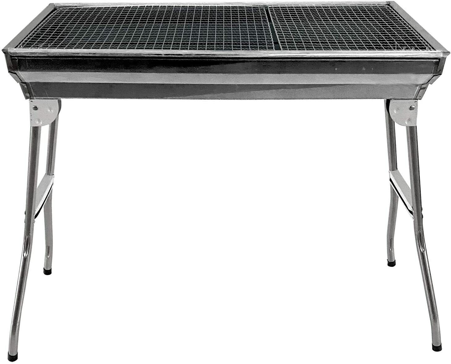 Large Stainless Steel BBQ Grill Portable Folding Outdoor Charcoal Barbeque Pit
