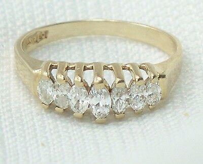 Estate 1/2 Carat 14K Yellow Gold Marquise Diamond Pyramid Wedding Ring