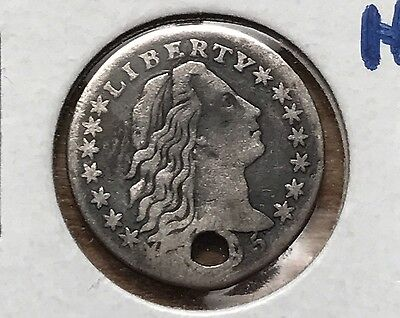 1795 Flowing Hair Half Dime XF Holed