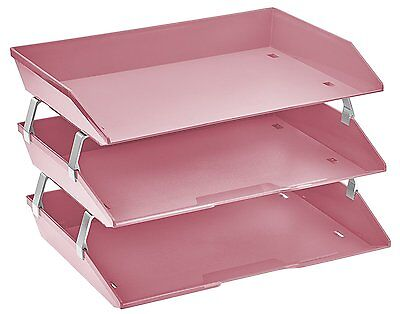 Acrimet Facility 3 Tiers Triple Letter Tray Solid Pink Color