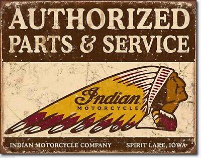 Indian Motorcycle Vintage Metal Tin Advertising Sign MADE USA 16 x 12 Garage