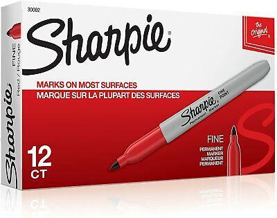 Sharpie Permanent Fine Point Marker Red 30002 12 Each
