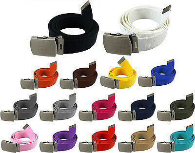 Military Web Canvas Belt Waist Strap Mens Womens Silver Metal Slider Buckle 54""
