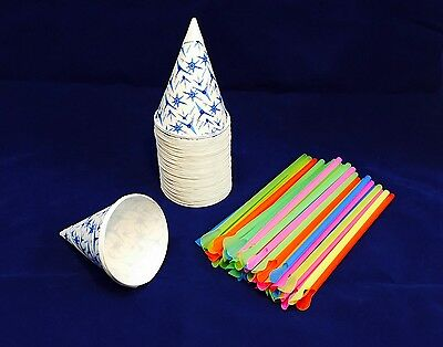 50 Snow Cone Cups 6 Oz With Spoon Straws Quick Free Shipping