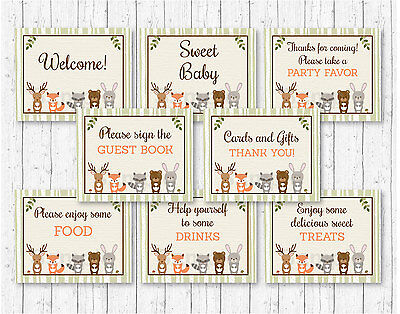 Woodland Animals Baby Shower Table Signs - 8 Printable - Woodland Baby Shower Decorations