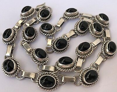 RARE Vintage Modernist Sterling Silver & Black Onyx Mexico Old Taxco Necklace