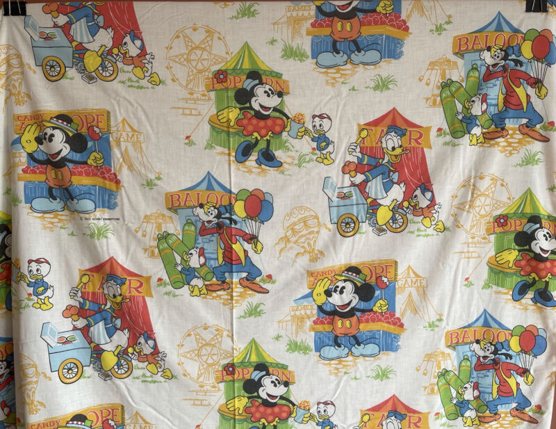 Vintage Disney Fair Themed Double Sheet Set HTF