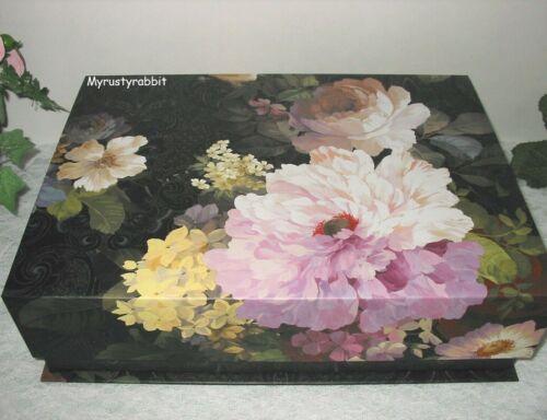 "Punch Studio Storage Keepsake Box Flip Top - Black Watercolor Floral 12.5"""