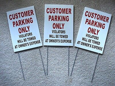 3 Customer Parking Only  8x12 Plastic Coroplast Signs W Slide-in-stakes