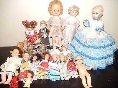 Lot of 21 vintage dolls plastic vinyl porcelain bisque wholesale