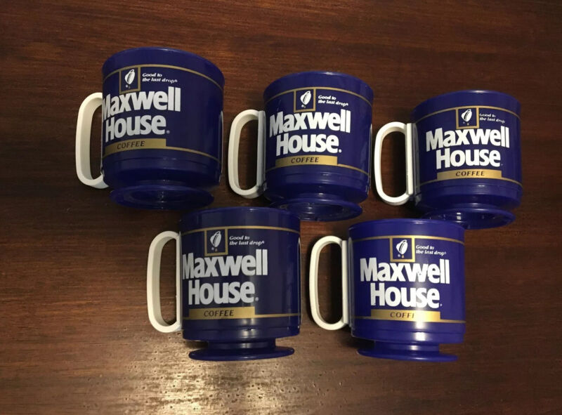 Vintage Maxwell House Collectible Footed Coffee Mugs Set Of 5