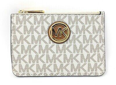 Michael Kors Fulton Small Top Zip Coin Pouch & ID Holder in Vanilla & Acorn PVC