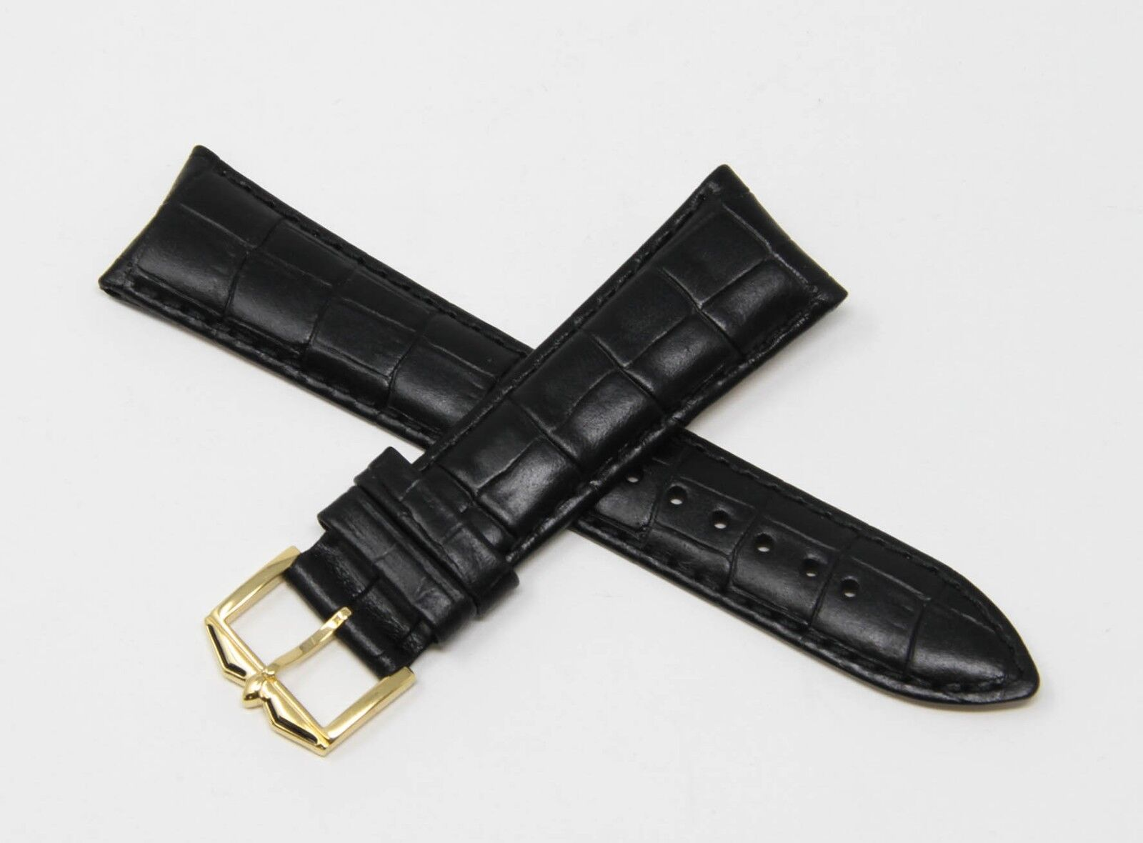 Rotary Uhrenband Echt Leder in Kroko Optik 22 mm Schwarz