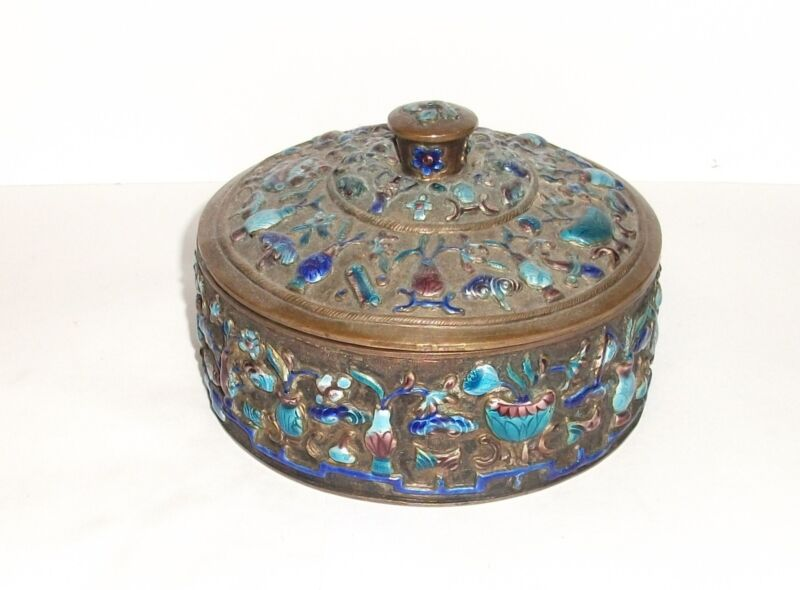 RARE 19TH CENTURY CHINESE BRONZE CLOISONNE REPOUSSE ENAMEL OLD BOWL JAR BOX