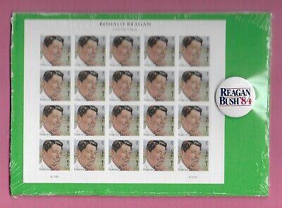 Reagan FOREVER Stamps and pin  B ... Regan - Bush '84