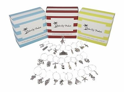 Deluxe Wine Charm Set with Beach, Wine Lover & World Travel Themes 28 pieces