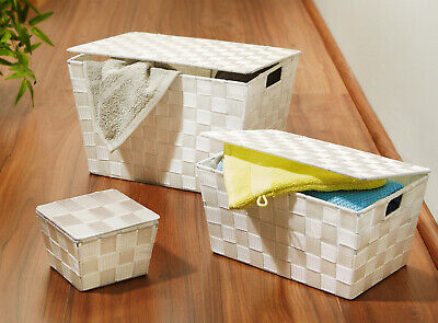 3 Stück Flechtkörbe Korb mit Deckel weiss Aufbewahrung Organizer Ablage Ordnung - 3 Stück Weiß Lackiert