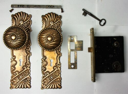 Antique Ornate Set EASTLAKE VICTORIAN Backplates Door Knobs Mortise Lock Key
