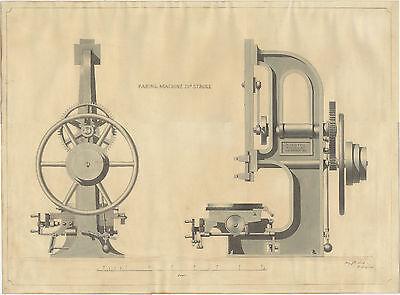 1849 ORIGINAL machine tool drawing NASMYTH GASKELL & CO. Manchester SUPERB!