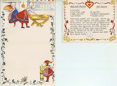 VINTAGE BUTTER CHURN NUT SQUARES RECIPE 1 TEA POT OCEAN BED BREAKFAST ART CARD