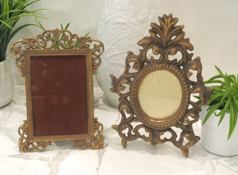 Vintage Reproductions of small antique brass photo frames. Solid brass