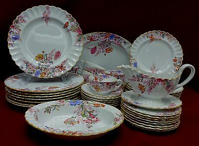 SPODE china CHELSEA GARDEN Mustard Trim pattern 43-piece SET SERVICE for Eight 8