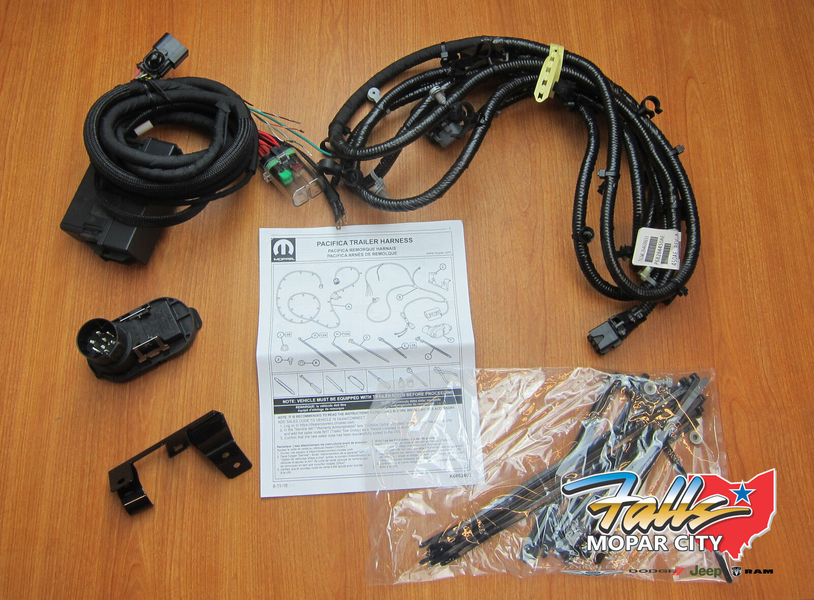 2017 2018 Chrysler Pacifica Trailer Tow Hitch Wiring Harness Kit Jeep Mopar Oem