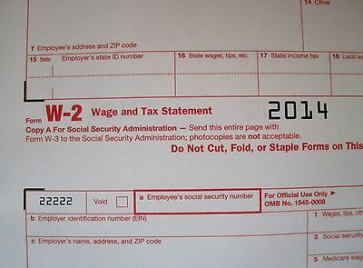 2014  5 Sheets W 2 Irs Wage Tax Statement   3  W 3 Transmittal Forms