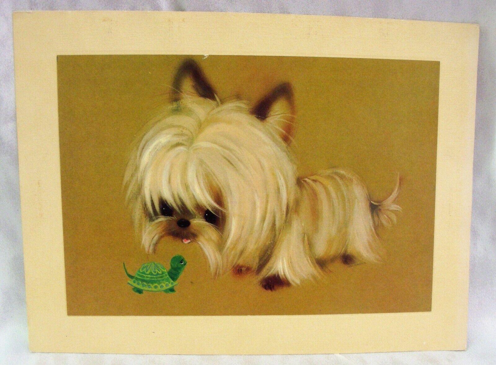 12X16 Vintage 1960's Puppy Luv GIANT Hallmark Card Yorkie Silky Terrier Turtle