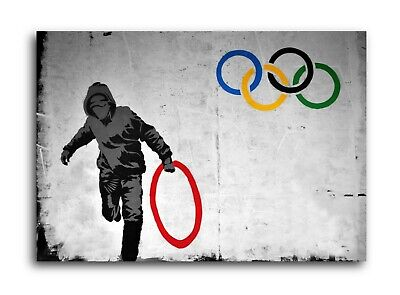 Banksy Stolen Ring - Olympic Rings Gallery Wrapped Canvas Wall Art