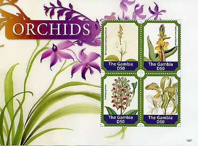 Gambia 2015 MNH Orchids 4v M/S Flowers Flora Cattleya