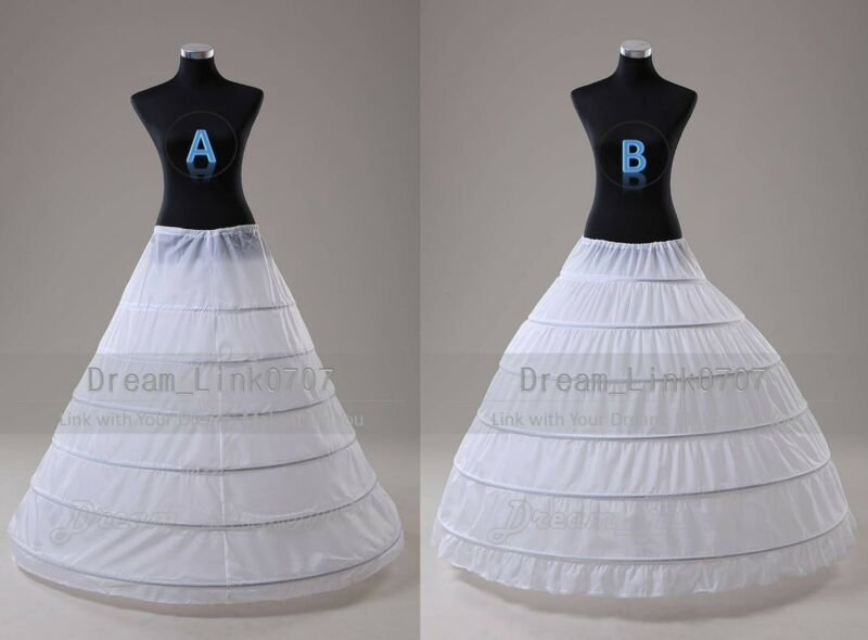White 6 HOOP A Line Ball Gown Wedding Promo Crinoline Petticoat Slip US Stock