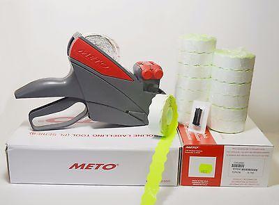 Meto Price Label Gun 1322 2 Line 58dgt Green Labels 14rolls Ink Roller