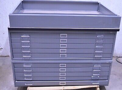 Safco 10-drawer Steel Flat File Filing Cabinet W 6 Base Blueprint Maps Plans 2